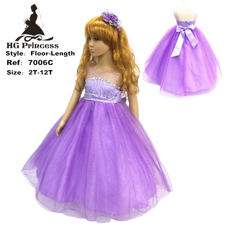 2018 New Arrival Hg 2-12 Years Child Party Dress Tulle Flash Purple Flower Girl Dresses Diamond Ankle-length Kids Evening Gowns шапка чулок tiara freespirit шапки и береты бини