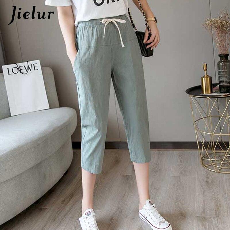 Jielur 2019 Summer Solid Color Office Lady Korean Harem   Pants   Simple Casual Slim   Capris   Women Streetwear Cool Pantalones Mujer