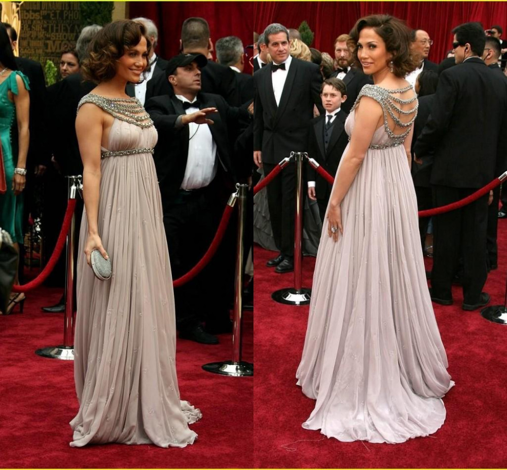 Famous Stars Luxury Red Carpet Celebrity Dresses Scoop Beaded Collar Draped Empire Pregnant Dress Maternity Evening Formal Gowns Sweep Train