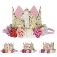 Sombreros de fiesta de feliz primer cumpleaños, gorra de decoración, sombrero de cumpleaños, corona de princesa, 1 °, 2 °, 3 ° año, para mascotas, perros, gatos, diadema, oferta