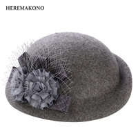 HEREMAKONO 2017 Autumn Winter New Style Knitted Flower 100 Wool Berets Hat All Women S Fashion