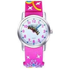 Уиллис новый ребенок 3D часы брендов детской Водонепроницаемый часы мультфильмы Дизайн аналоговые часы малыш кварцевые наручные часы Розовый