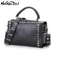 NIGEDU Luxury brand rivet women handbag fashion rock and punk personality women Shoulder bags design Ladies Crossbody Bags black
