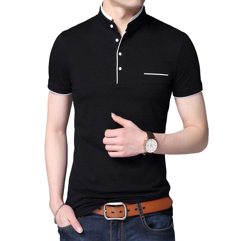 BROWON 2019 Fashion Men T-shirt Summer Short Sleeve T-shirt Stand Collar Solid Slim T-shirt Men Cotton Tops Tees Plus Size 5XL