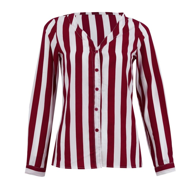 HTB1szyvaBGw3KVjSZFwq6zQ2FXax - Blouse Women Casual Striped Top Shirts Blouses Female Loose Blusas Autumn Fall Casual Ladies Office Blouses Top Sexy