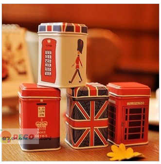 (1pc/lot) Kawaii Cartoon London style metal storage box Stationery Holders(d-5683)