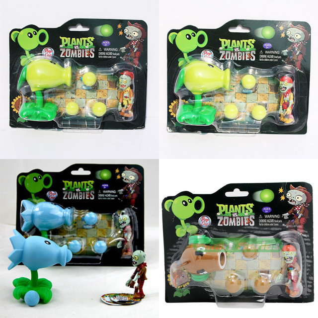Plants VS. Zombies Figures Peashooter Sunflower Cherry Bomb Snow Pea Chomper Jalapeno Cactus Cob Cannon Plane PVZ Model Toys