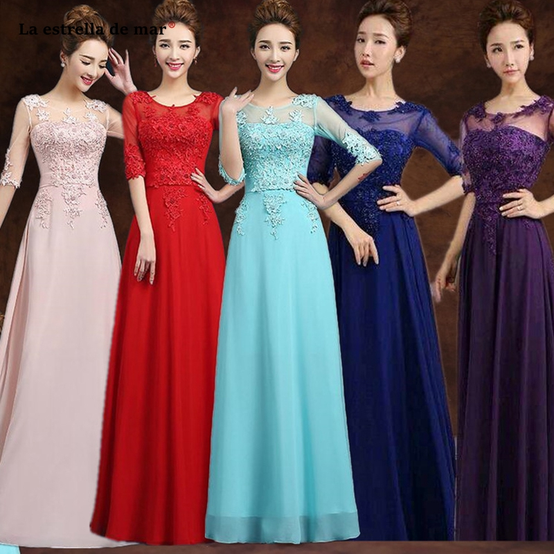 Vestido Madrinha2019 New Scoop Neck Lace Chiffon Half Sleeve A Line Turquoise Pink Purple Royal Blue Red Bridesmaid Dress Long
