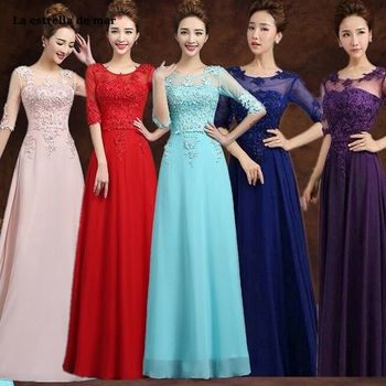 Vestido madrinha  new Scoop neck lace chiffon half sleeve A Line turquoise pink purple royal blue red bridesmaid dress long