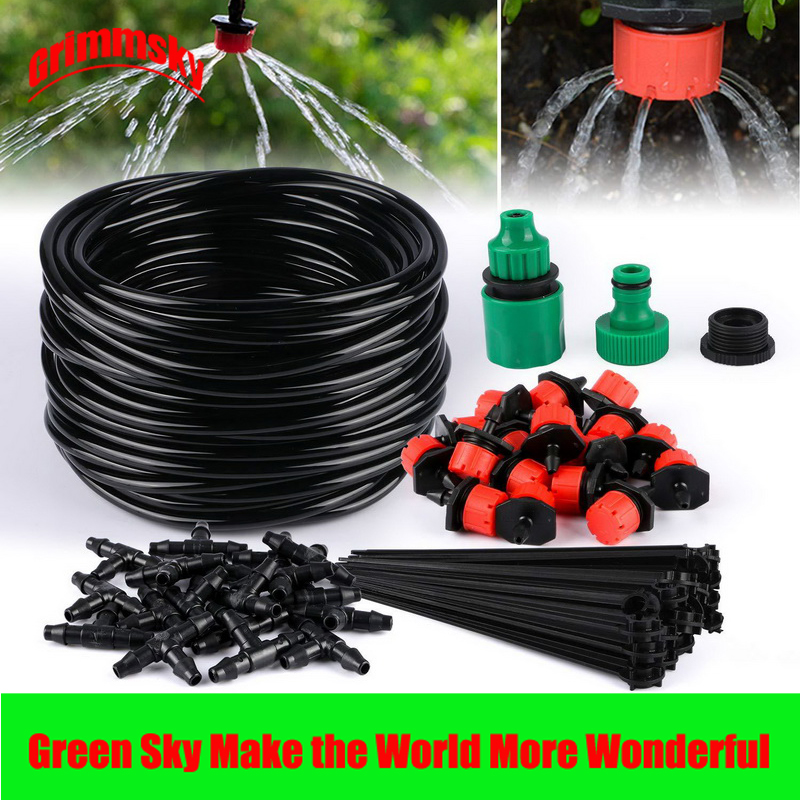 25M 30PCS Drippers DIY Garden Hose Micro Drip Garden Watering Kits Automatic Watering System in Watering Kits from Home Garden