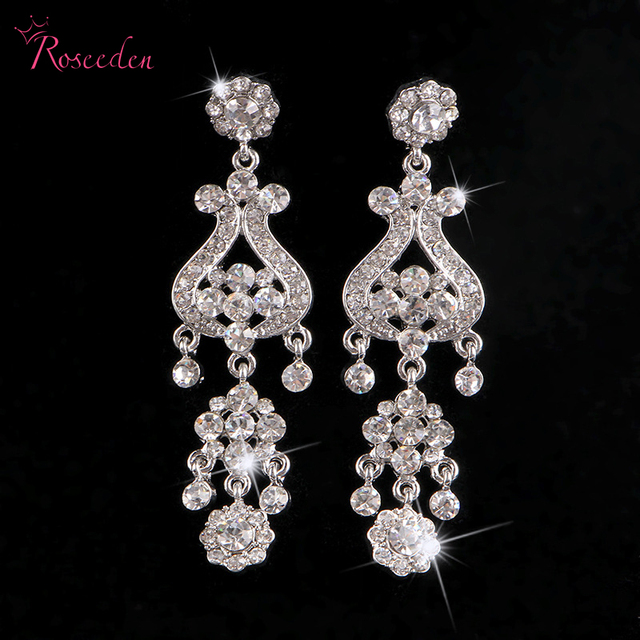 New Chandelier Crystal Rhinestone Silver Earrings Bridal Long For Women Wedding Jewelry Free
