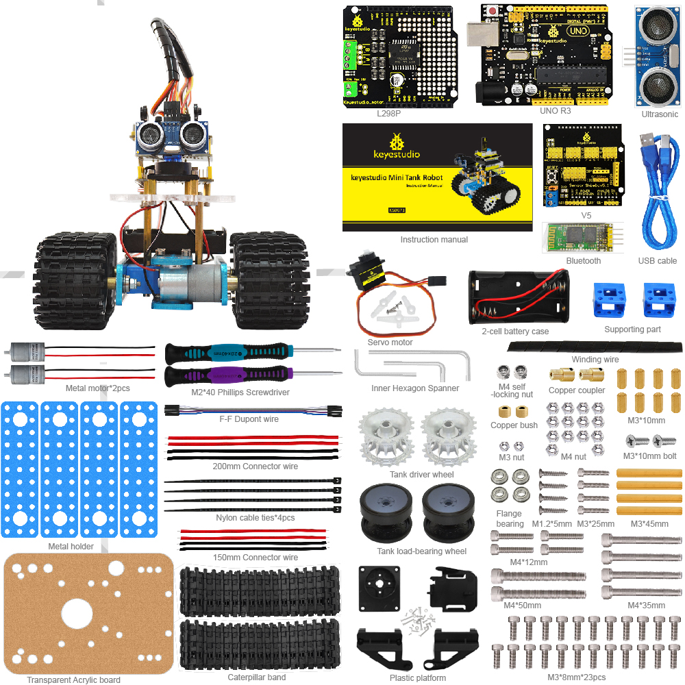 keyestudio Programabl Tank Robot for Arduino Starter Project Smart Car Kit with UNO R3+ Tutorial book STEM Robot Education doit uno starter kit for smart car chassis with arduino uno r3 board l298n motor drive shield tracking module dupont line