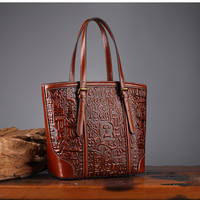100% женская сумка из натуральной кожи с принтом в стиле ретро, женская сумка из воловьей кожи, повседневная сумка на плечо, большая сумка ~ 17B14