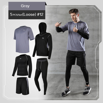 5 Pcs/Set Men's Tracksuit Gym Fitness Compression Sports Suit Clothes Running Jogging Sport Wear Exercise Workout Tights 13