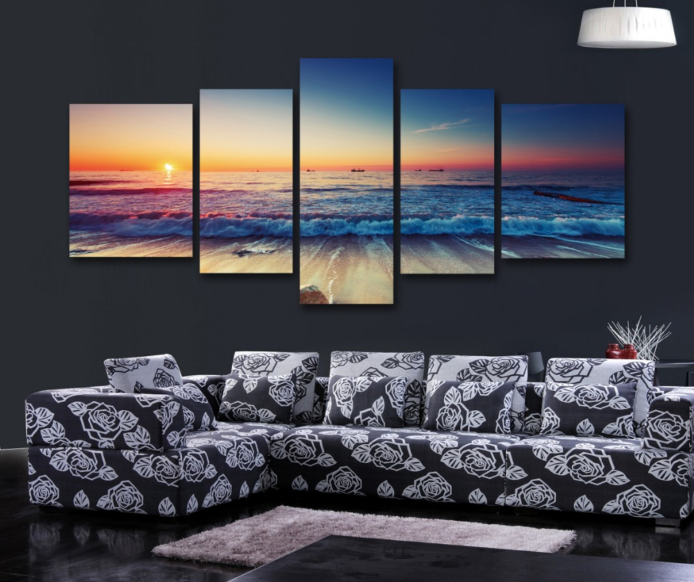 Seascape oli canvas print painting photography scenery modern wall art pictures landscape style - Wall decor photography ...