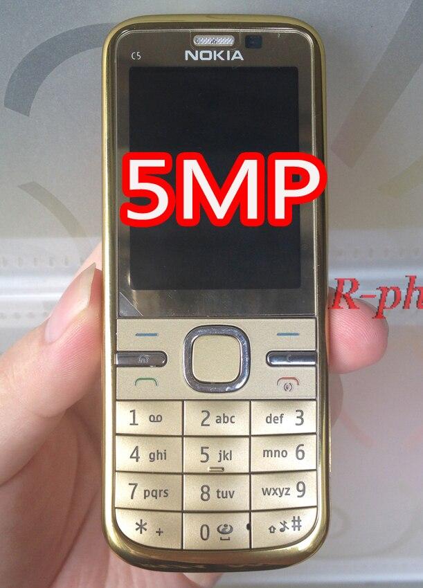 NOKIA C5-00 C5 мобильный телефон разблокированный иврит Арабский Русский Клавиатура Восстановленный мобильный телефон - Цвет: gold 5MP