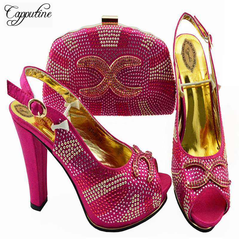 Capputine 2018 New Fashion Woman Shoes And Bag Set Italian Elegant High Heels Shoes And Bags To Match Set For Wedding ZS-03 capputine italian fashion design woman shoes and bag set european rhinestone high heels shoes and bag set for wedding dress g40