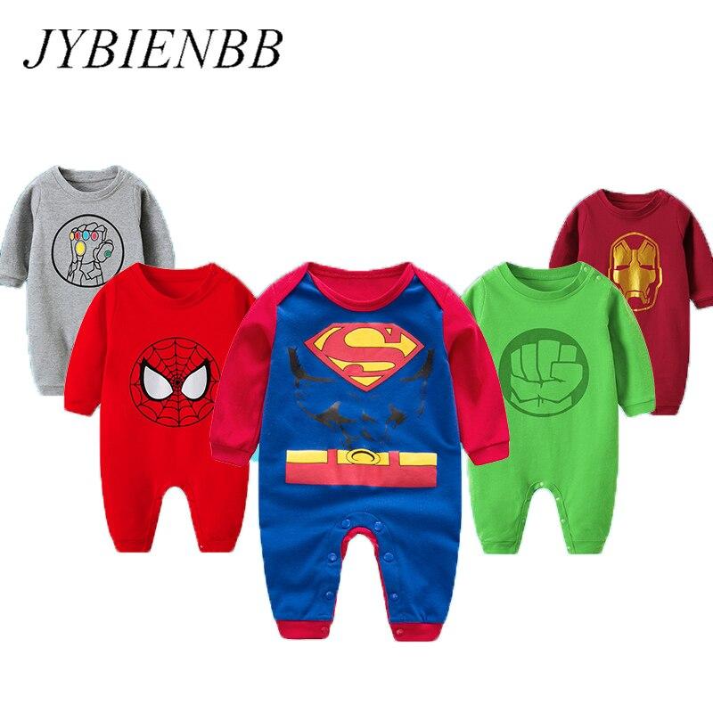 Baby Boy Romper Anime Superman Spiderman Long Sleeve Halloween Christmas Costume Gift Girls Rompers Autumn Newborn Bebe Clothing