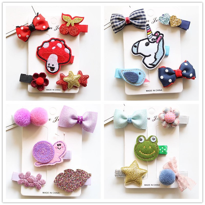 1 Set Cute Cartoon Unicorn Bowknot Girls Kids Hair Clips Bows Barrette Hairpin Accessories For Children Hair Ornaments Hairclip 12pc set elastic hair rubber band children hair unicorn headband kids hair accessories gril hair band set cute unicorn cartoon