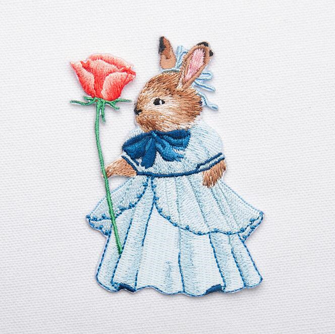 Embroidered Rabbit Bunny Patch for Clothing Iron on Applique Clothes - Arts, Crafts and Sewing - Photo 2