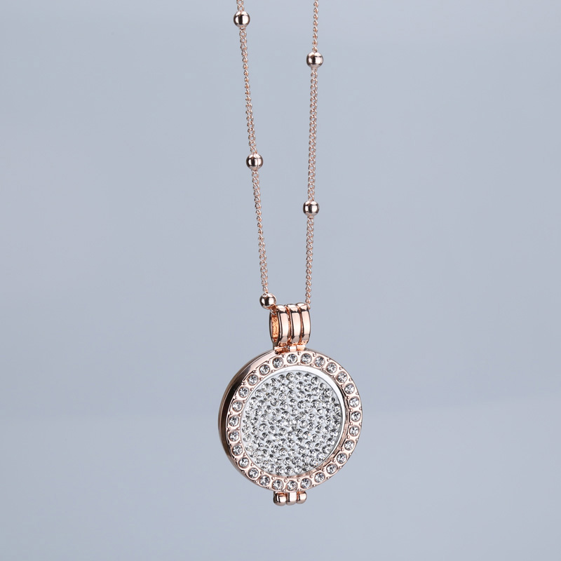 Free shipping 35 mm coin holder necklace pendant fit my 33 mm coins rose gold crystal gift decorative jewelry 2018