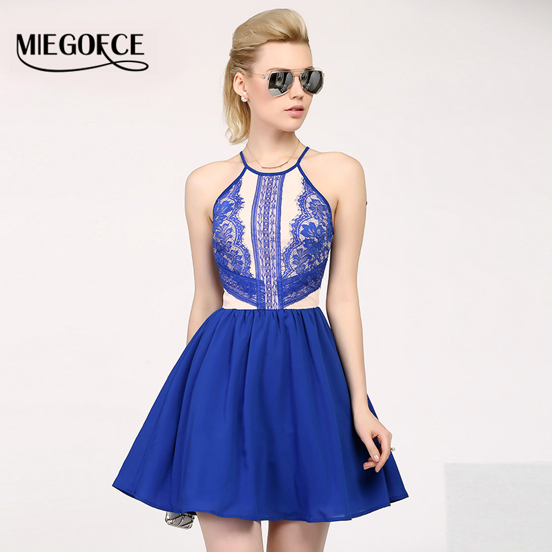 Summer Women Dresses Silhouette A-line Sleeveless Lace Hollow Evening Party Bodycon Dress Spaghetti Strap Sundress MIEGOFCE New