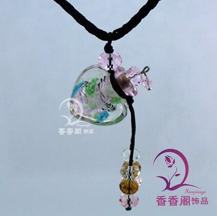 2 шт Духи из муранского стекла ожерелье s, ароматические флаконы, стеклянные подвески для духов, парфюмерное ожерелье флакон - Окраска металла: Pink