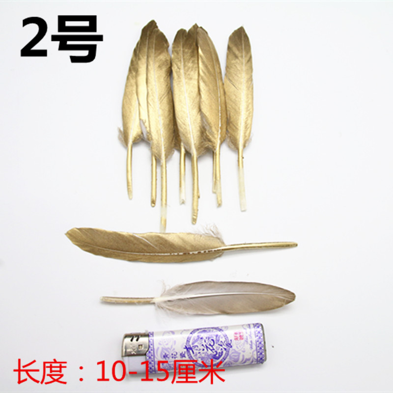 50PC Natural Goose Feather DIY Wedding Party Decor Art Crafts 10-15CM Gold pati Duck wings