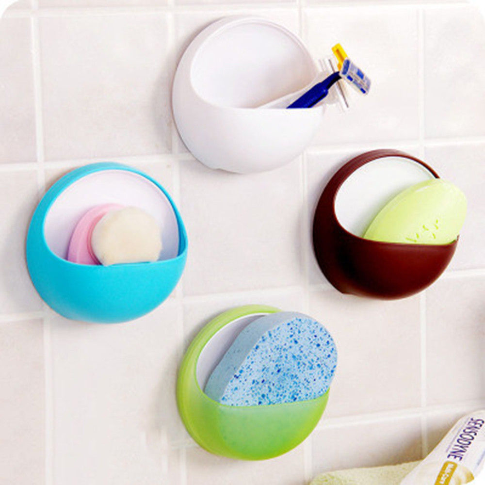 Home Storage & Organization 4colors Creative Bathroom&kitchenplastic Suction Cup Soap Toothbrush Box Dish Holder Bathroom Shower Accessory High Quality R3 Bathroom Storage & Organization