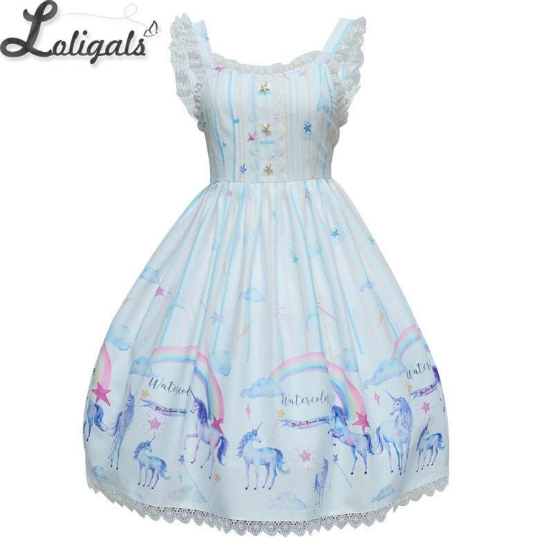 2019 décontracté Lolita JSK robe douce licorne et arc-en-ciel imprimé robe en mousseline de soie
