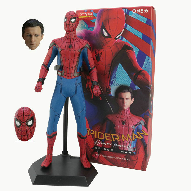 Crazy Toys Movie Marvel The Avengers Spiderman Peter Parker PVC Action Figure Tom Holland Collectible Model Doll Toy Kids Gift