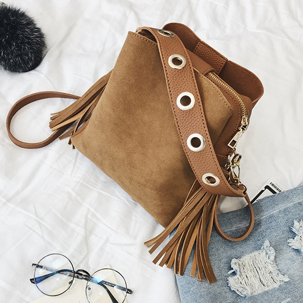 Womens Pure Color Leather Bucket With Soft Handle And Interior Slot Pocket Pu Leather Handbag Messenger Bags