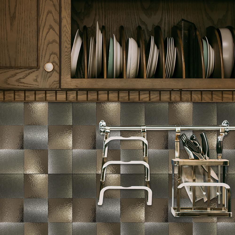 4 Pieces Grid 3M Peel and Stick Mirror Mosaic Tile 12 quot Metal Backsplash for Kitchen Walls 3D Self Adhesive Wall Sticker for KTV in Wall Stickers from Home amp Garden
