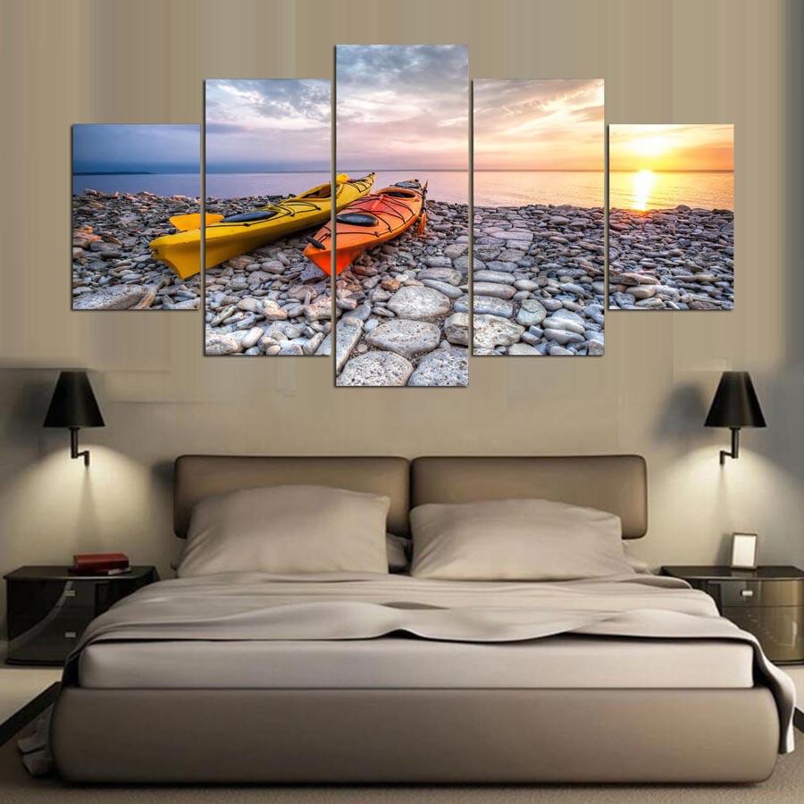 Kumsal duvar boyas rengi ile modern ve k ev dekorasyonu - 5 Adet Okyanus Ya L Boya Ev Dekor Sunset Beach Mavi G Ky Z Yelkenli Gemi Ya L Boya Oturma Odas Tuval