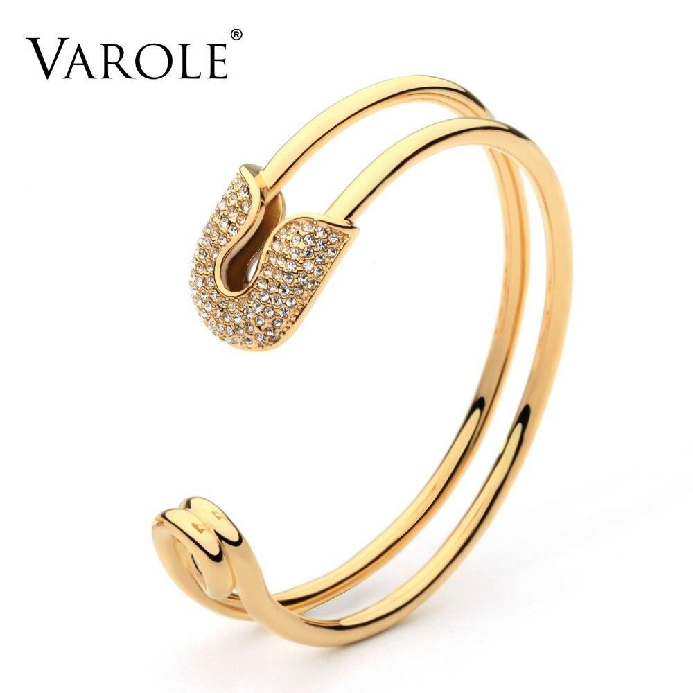 VAROLE Unique Paper Clip Gold Color Cuff Bracelet Shining Crystal Bangle Bracelet For Women Bracelets Bangles Pulseiras