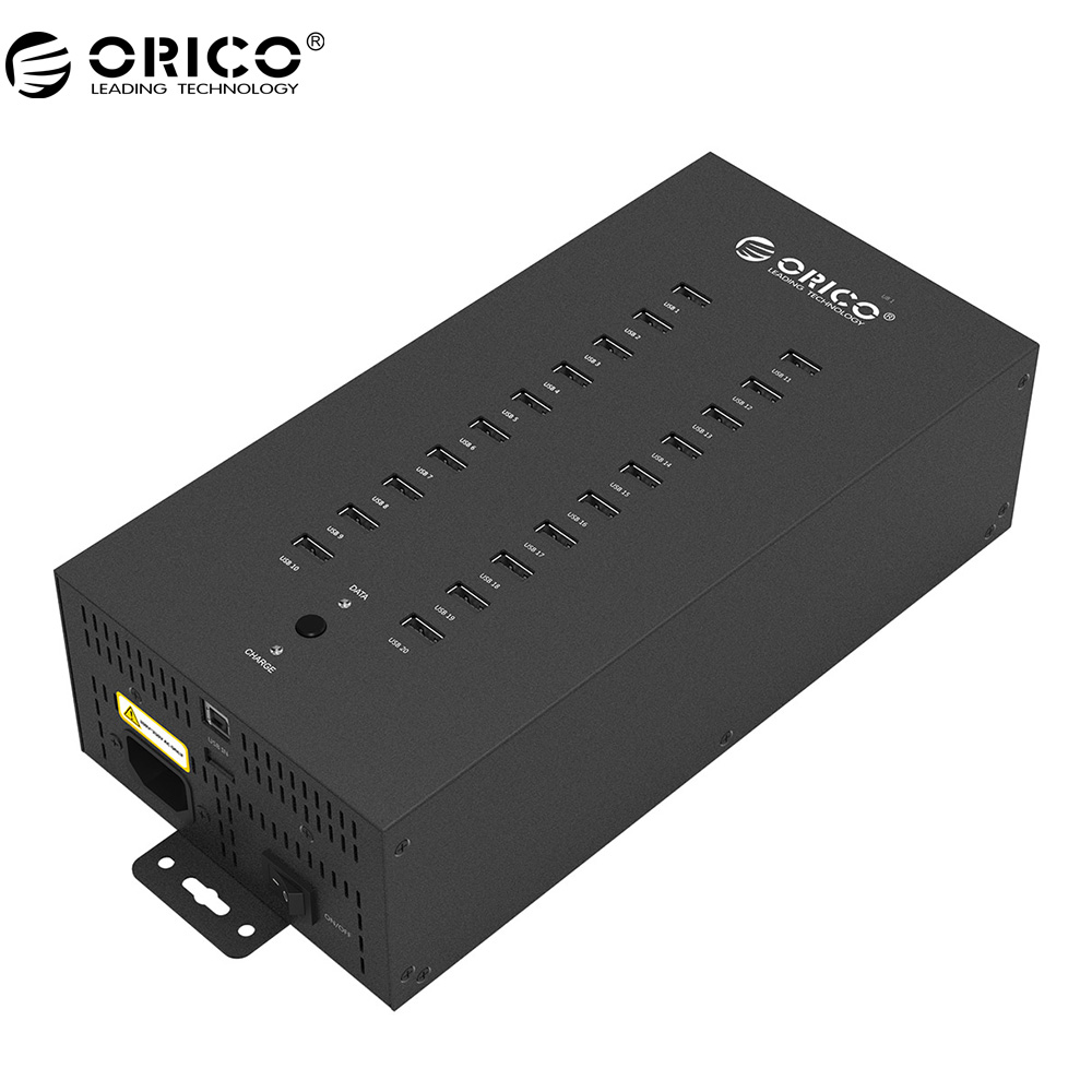 ORICO 20 Ports Industrial USB2.0 HUB with Charge Mode and Date Mode -Black (IH20P) orico ih20p 20 port usb 2 0 hub with data and charge modes