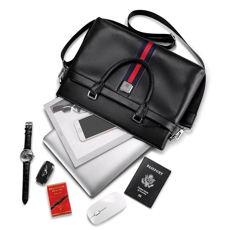 Willioampolo ขายแฟชั่นที่มีชื่อเสียงยี่ห้อผู้ชายกระเป๋าเอกสารกระเป๋าหนังกระเป๋าแล็ปท็อปกระเป๋า Casual ไหล่กระเป๋า 193038-ใน กระเป๋าหูหิ้วด้านบน จาก สัมภาระและกระเป๋า บน   3