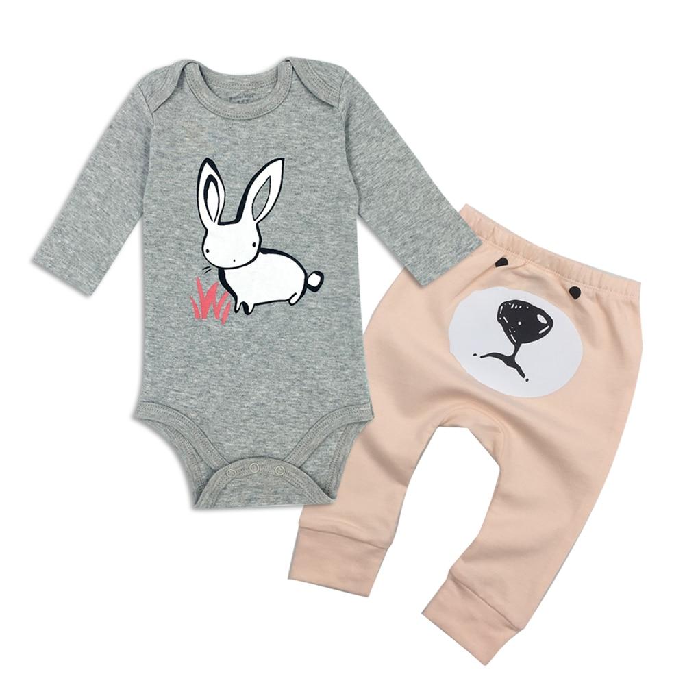 Baby girl Ubrania O-neck Długi rękaw Body i spodnie dla dzieci - Odzież dla niemowląt - Zdjęcie 3