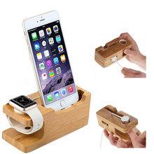 MIJOBS Bamboo Wood Charging Dock Station for Mobile Phone Holder Wooden Stand Base Apple Watch and For iPhone X 8 7 Samsung