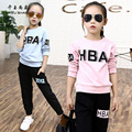 QYSZ New Student's Sport Jersey Suits O-Neck Long Sleeves Spring Two Pieces Clothing Set Girls Letter Pattern Cotton Sport Sets