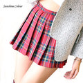2016 Hot Midi Pleated Women Skirts High Waist Red A-Line Short  Skirts Uniforms School Tartan Plaid Skirt Saias