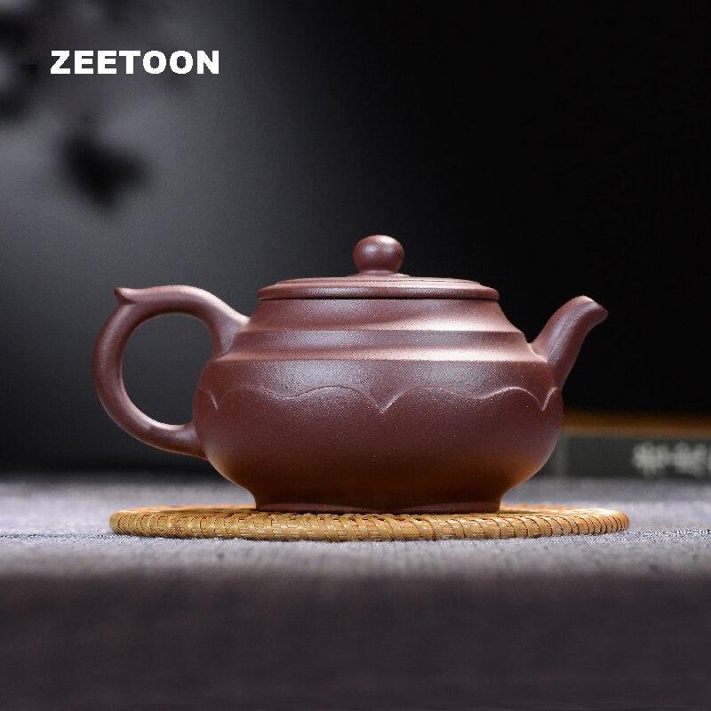 260cc authentique Yixing théière Lotus brut Pot maître fait à la main chinois sain violet argile Teaware bouilloire théière créative théière
