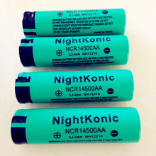 Original High Quality  Nightkonic 12 PCS/LOT 14500 Battery 3.7V voltage Li-ion Rechargeable