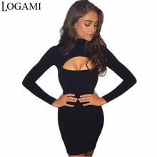 f27b27176a6 LOGAMI Automne Hiver Robes Femmes 2017 À Manches Longues Sexy Club Party  Robe Moulante Midi Robe Gris Noir Marine Bleu