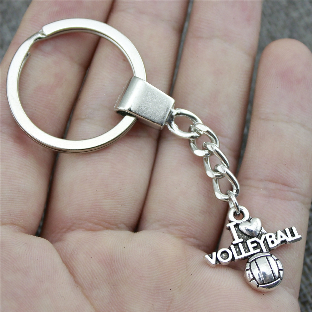 WYSIWYG 21x20mm I Heart Volleyball KeyChain, New Fashion Handmade Metal Keychain Party Gift Dropship Suppliers