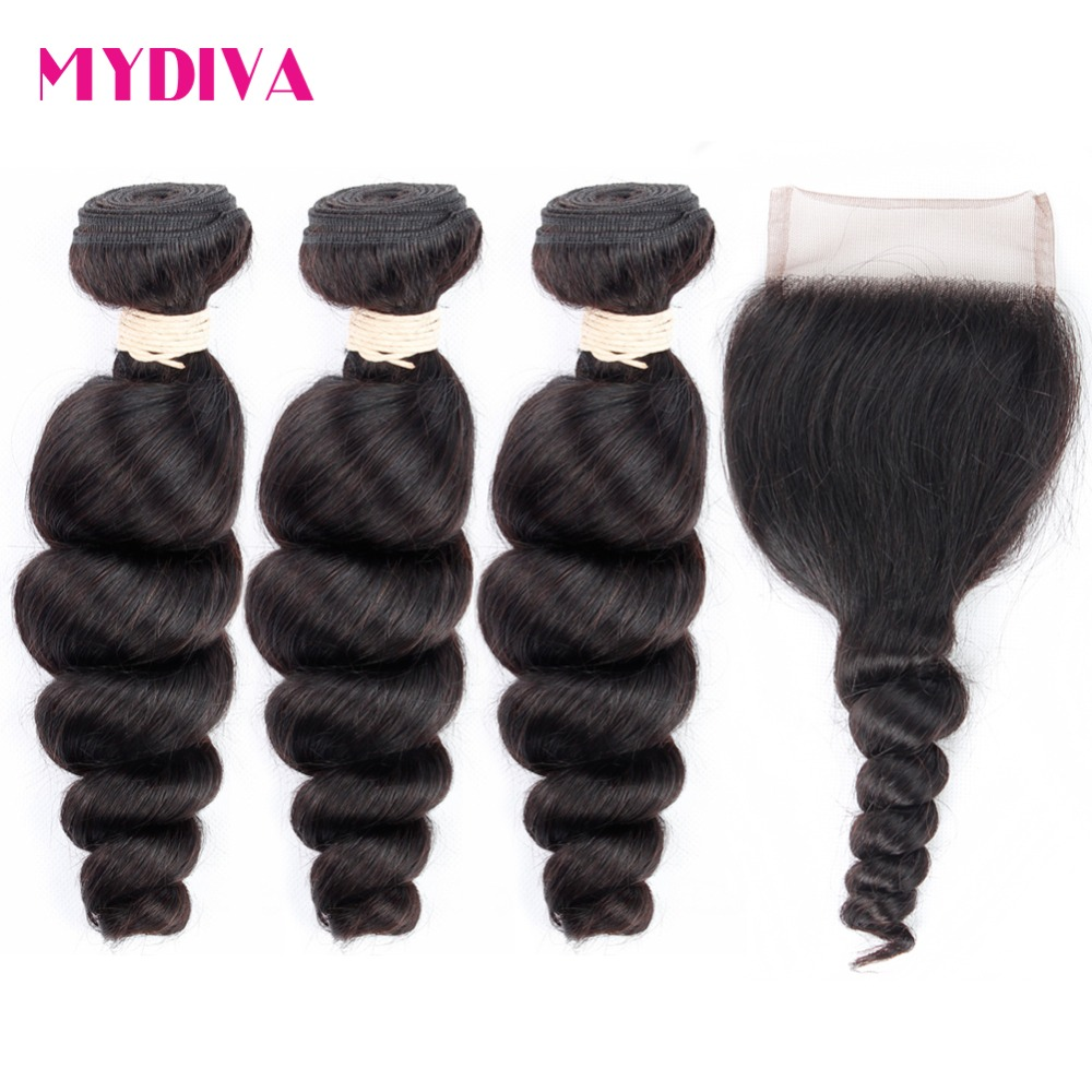 Mydiva Brazilian Loose Wave Human Hair 3 Bundles With Closure Non Remy Hair Weave Bundles With Lace Closure Can DIY Wig