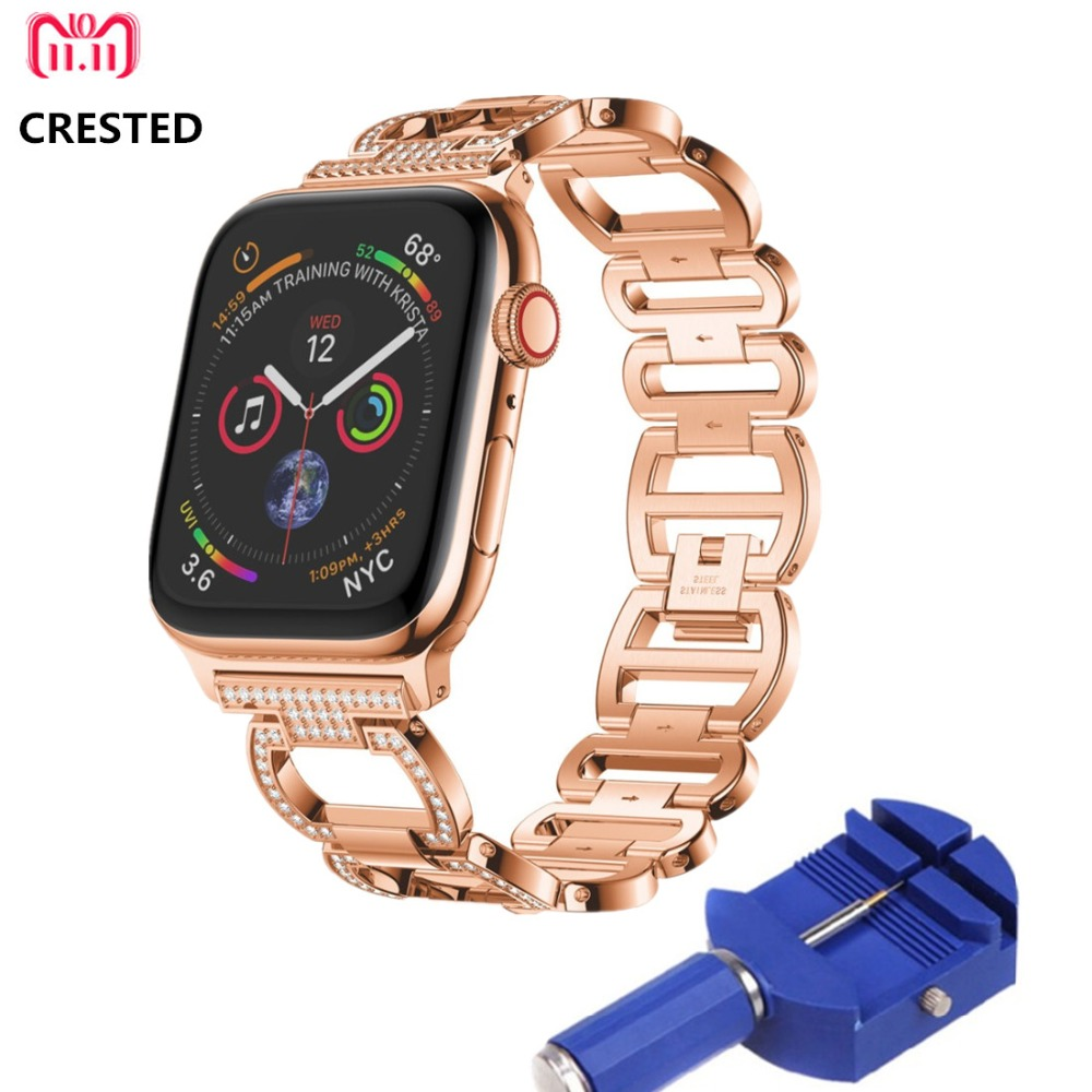 CRESTED Diamant Edelstahl Strap Für Apple Uhr Band 44mm/40mm correa iWatch Serie 4 3 2 1 42mm/38mm handgelenk armband gürtel
