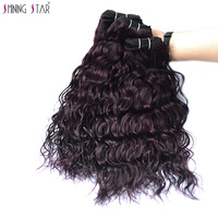 Shiningstar Hair Water Wave Bundles Grape Purple 100% Human Hair Brazilian Hair Weave Bundles Nonremy Weave 1/3/4 Pcs Extensions