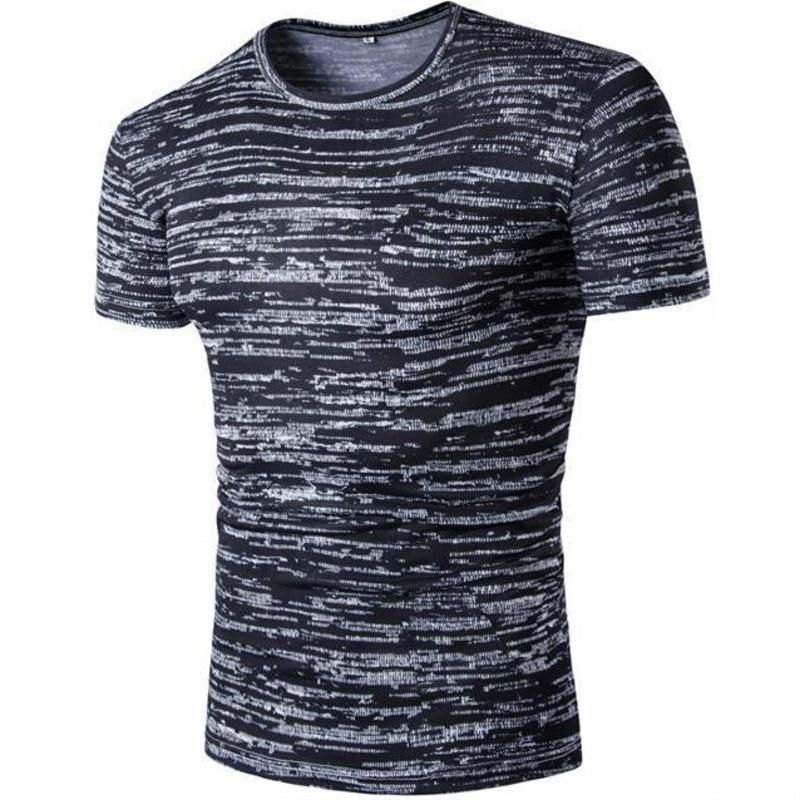 Men's Fashion tshirts Casual Stripe Short Sleeve big Size Round Collar Gradient colour mens clothing t shirt