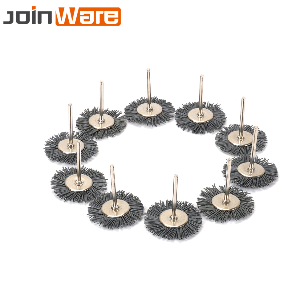 10Pcs T-shaped Nylon Abrasive Polishing Wheel Brushes Set For Wood Furniture Buffing Rotary Tool Accessories 3MM 1/8